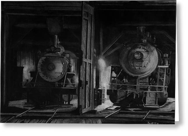 Recently Sold -  - White Drawings Greeting Cards - North Conway Roundhouse at Night Greeting Card by Scott T Hanson
