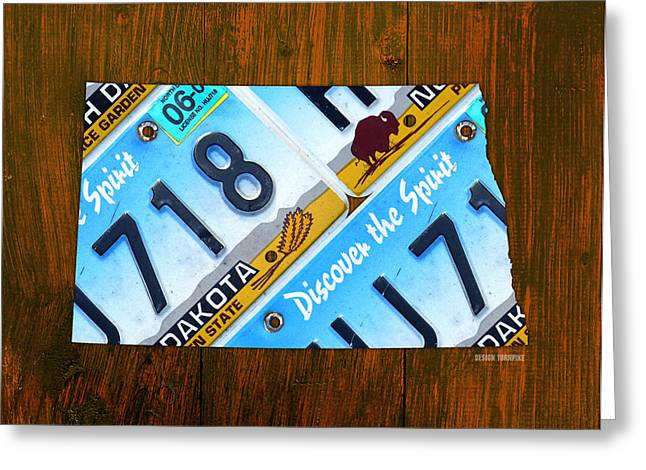 North Mixed Media Greeting Cards - North Dakota Peace Garden State Recycled Vintage License Plate Map Greeting Card by Design Turnpike