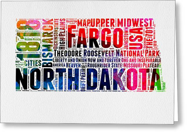4th July Greeting Cards - North Dakota Watercolor Word Cloud  Greeting Card by Naxart Studio