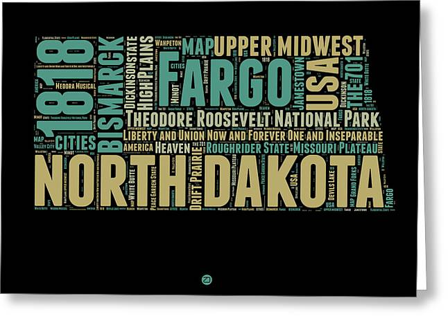 4th July Greeting Cards - North Dakota Word Cloud 1 Greeting Card by Naxart Studio