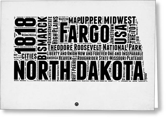 Dakotas Greeting Cards - North Dakota Word Cloud 2 Greeting Card by Naxart Studio