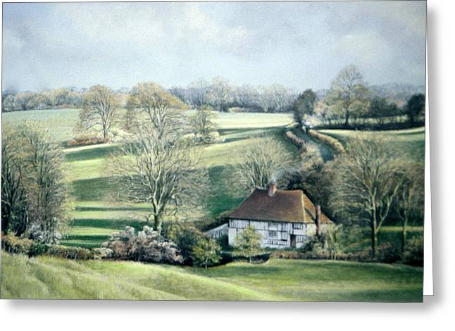 Spring Pastels Greeting Cards - North Downs Hideaway Greeting Card by Rosemary Colyer