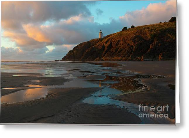 North Head Light Reflections Greeting Card by Mike Dawson