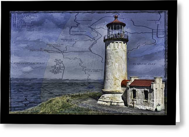 Historic Architecture Greeting Cards - North Head Lighthouse Map Greeting Card by Jean OKeeffe Macro Abundance Art