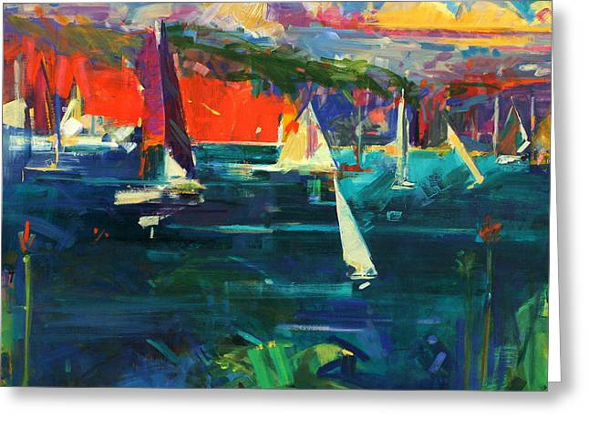 Sailboat Art Greeting Cards - North Head  Sydney Harbour Greeting Card by Peter Graham