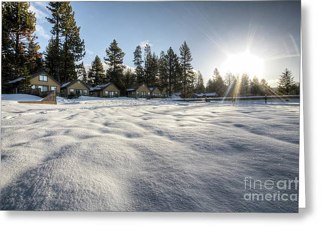 Sparkling Beach Greeting Cards - North Lake Tahoe Beach Snow Greeting Card by Dustin K Ryan
