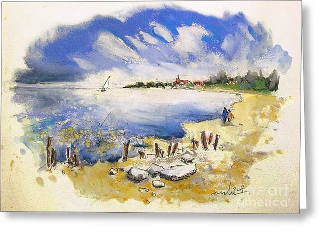 Travel Sketch Drawings Greeting Cards - North of France 02 - The Coast Greeting Card by Miki De Goodaboom