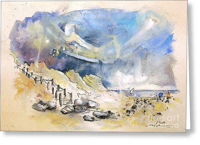 Travel Sketch Drawings Greeting Cards - North of France 03 - The Coast Greeting Card by Miki De Goodaboom