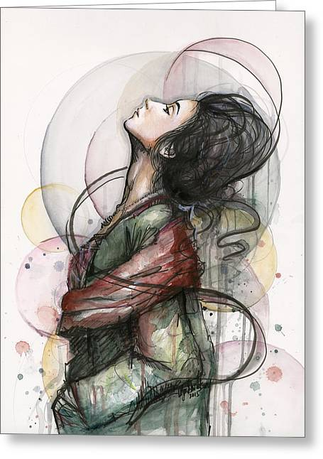 Figure Drawing Greeting Cards - North  Greeting Card by Olga Shvartsur