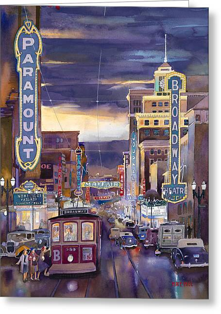 Mike Hill Greeting Cards - North On Broadway 1940 Greeting Card by Mike Hill