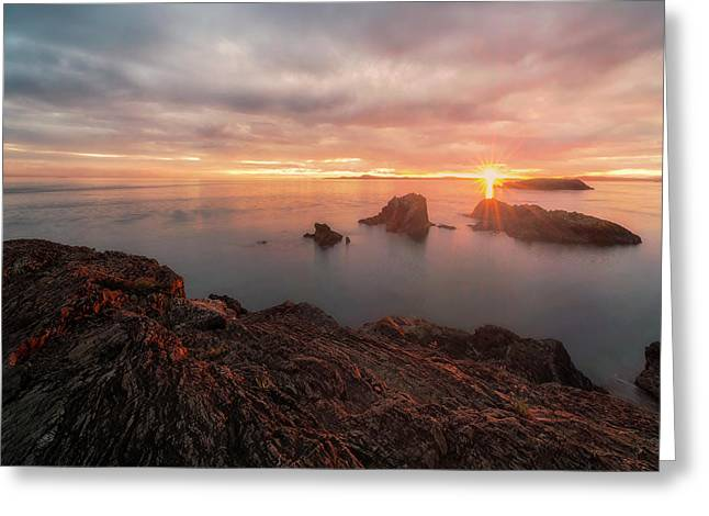 Juan De Fuca Greeting Cards - North Puget Sound Sunset Greeting Card by Ryan Manuel