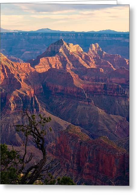 Grand Circle Greeting Cards - North Rim Sunset No1 Greeting Card by Edwin Voorhees