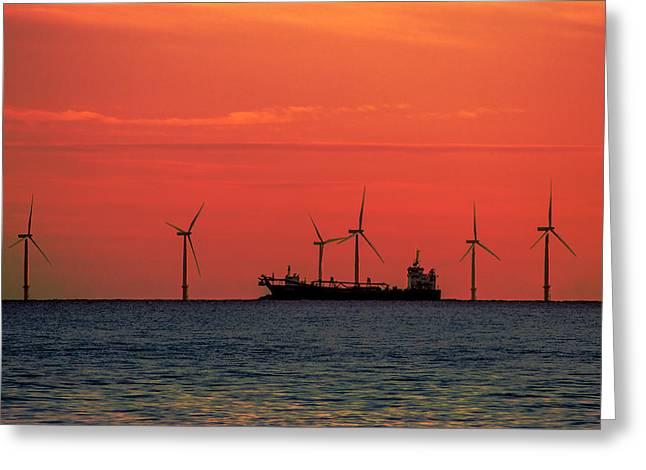 North Sea Wind Farm Greeting Card by Martin Newman
