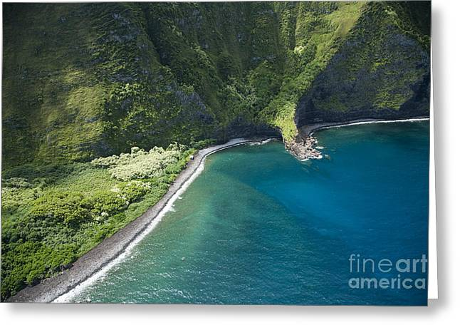 Mountain Valley Greeting Cards - North Shore - Molokai Greeting Card by Peter French - Printscapes