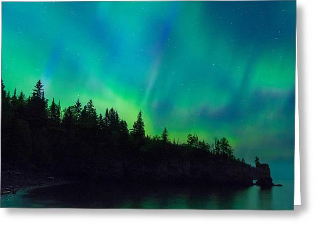 North Shore Aurora Greeting Card by Alex Ganeev