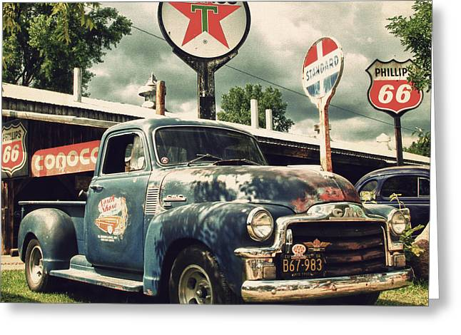 Classic Truck Greeting Cards - North Shore Garage Greeting Card by Joel Witmeyer