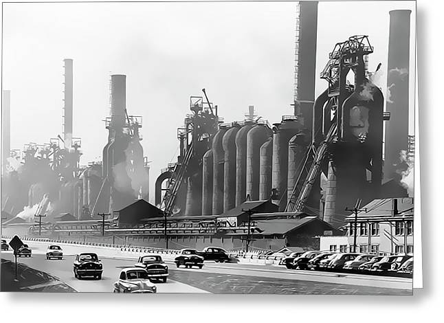 North Side Steel Works - Pittsburgh  C. 1954 Greeting Card by Daniel Hagerman