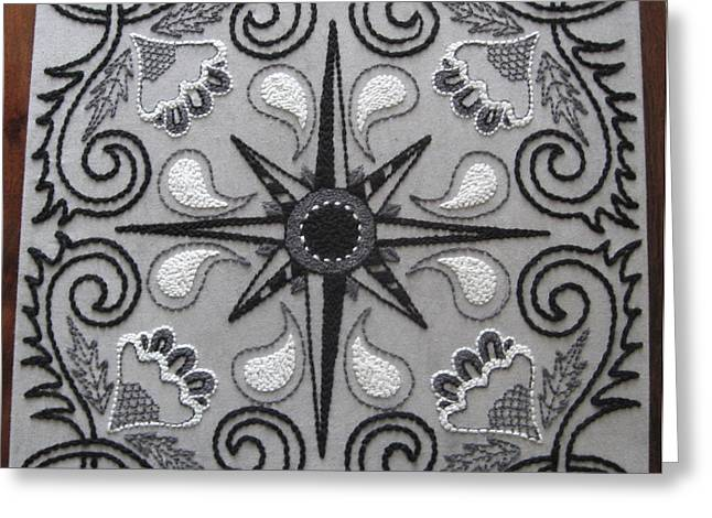 White Tapestries - Textiles Greeting Cards - North Star Greeting Card by Carolyn Powers