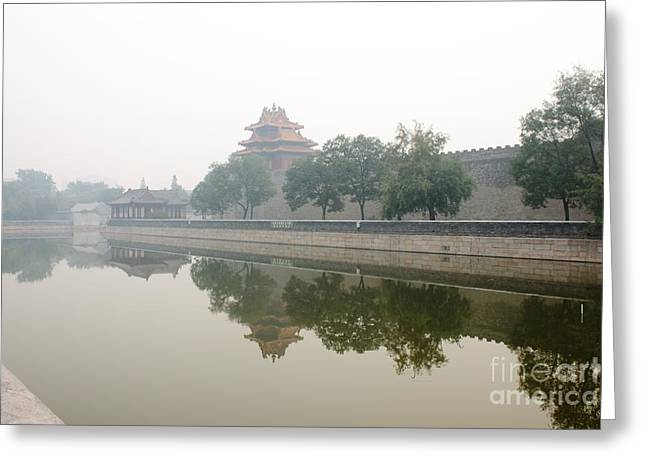 Forbidden City Greeting Cards - North Wall of The Forbidden City Beijing China Greeting Card by Thomas Marchessault