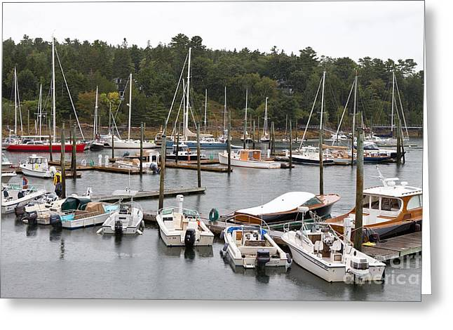 Overcast Day Greeting Cards - Northeast Harbor Marina Greeting Card by Jason O Watson