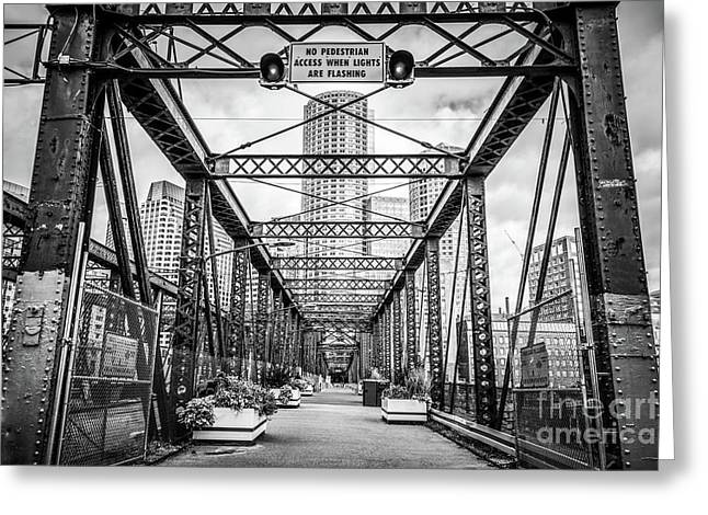 Northern Avenue Bridge Black And White Photo Greeting Card by Paul Velgos