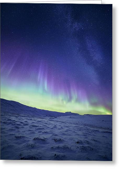 Milky Way Greeting Cards - Northern Light Greeting Card by Tor-Ivar Naess