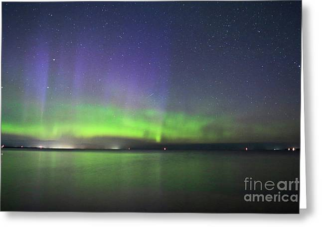 Northern Light With Perseid Meteor Greeting Card by Charline Xia