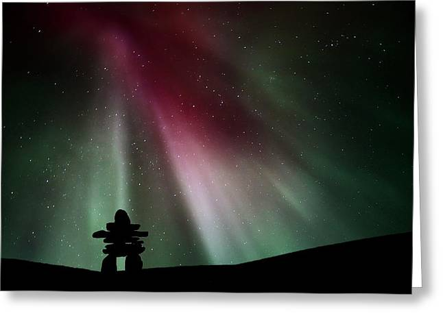 Digital Images Greeting Cards - Northern lights above an inukchuk in Saskatchewan Greeting Card by Mark Duffy