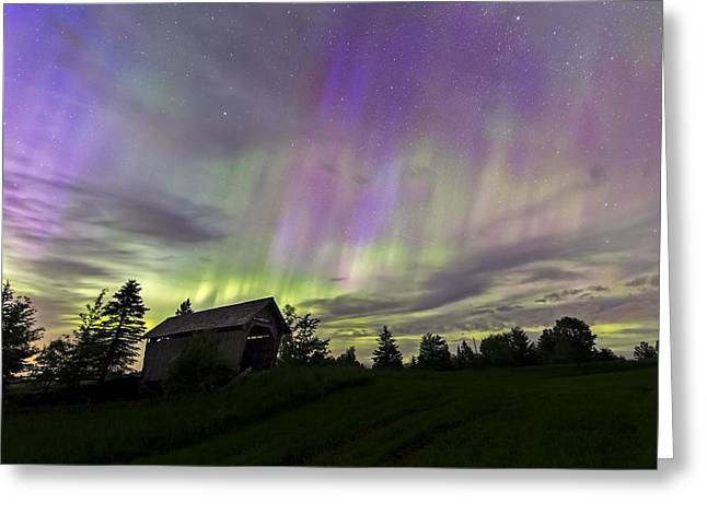 Covered Bridge Greeting Cards - Northern Lights Cabot Vermont Greeting Card by John Vose