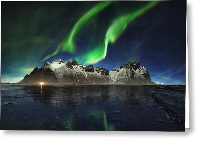 Star Pyrography Greeting Cards - Northern lights in Stokksnes Greeting Card by Juan Pablo De Miguel