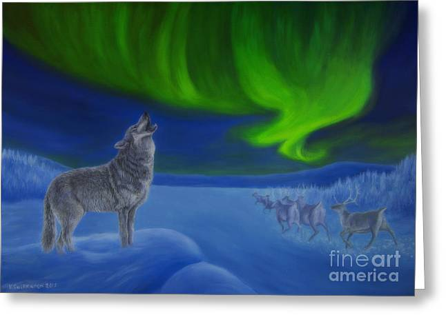 Live Paintings Greeting Cards - Northern Lights night Greeting Card by Veikko Suikkanen
