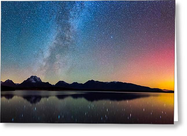 Northern Lights Over Jackson Lake Greeting Card by Darren White