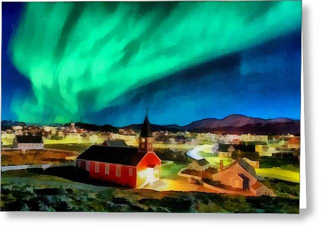 Mario Carini Paintings Greeting Cards - Northern Lights Over Nuuk Greeting Card by Mario Carini