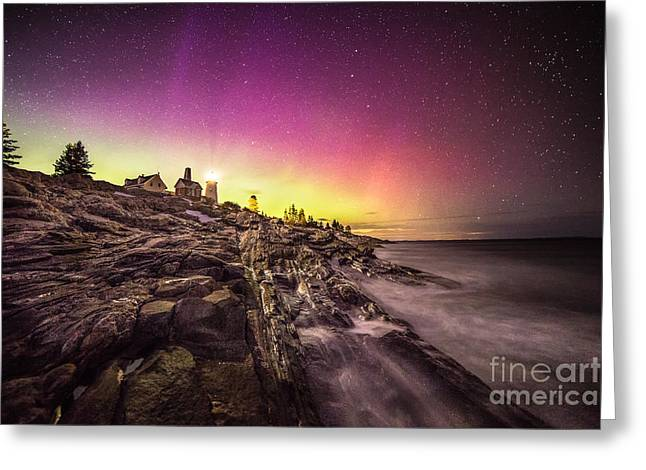 Northern Lights Over Pemaquid Point Greeting Card by Benjamin Williamson