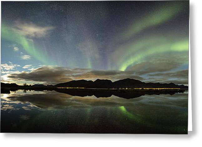 Northern Lights Panorama Greeting Card by Frank Olsen