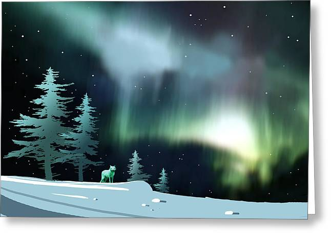 Arctic Wolf Greeting Cards - Northern Lights Greeting Card by Paul Sachtleben