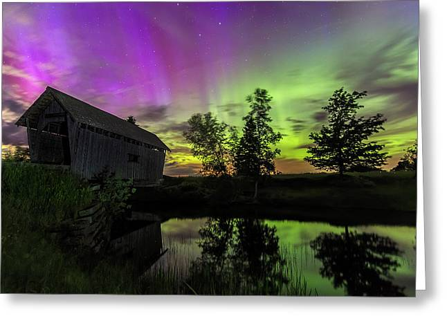 Covered Bridge Greeting Cards - Northern Lights Reflection Greeting Card by John Vose