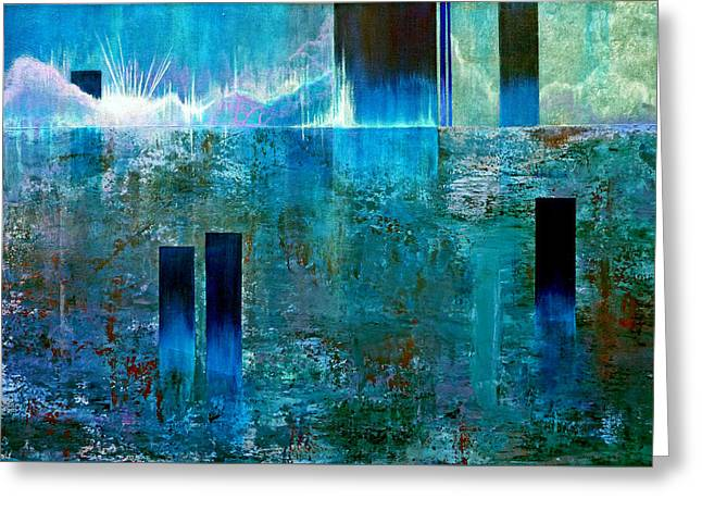 Abstract Expressionist Greeting Cards - Northern Lights Rising Greeting Card by Jim Whalen