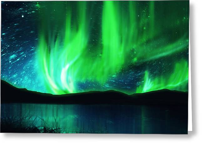 Particles Greeting Cards - Northern Lights Greeting Card by Setsiri Silapasuwanchai