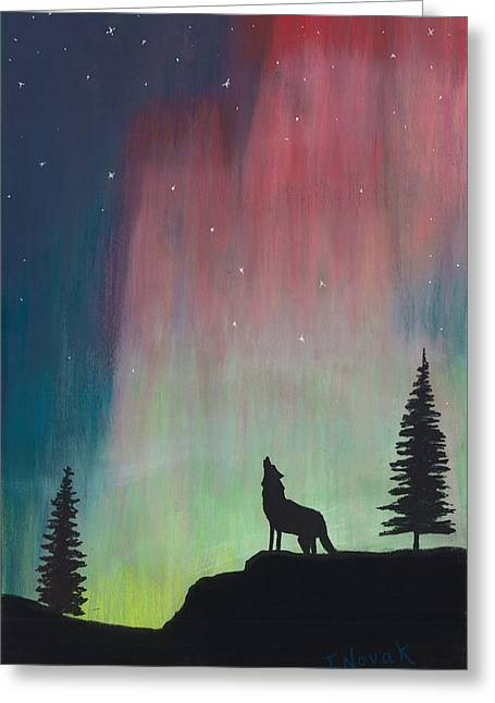 Wolf Pastels Greeting Cards - Northern Lights Stardust Greeting Card by Jackie Novak