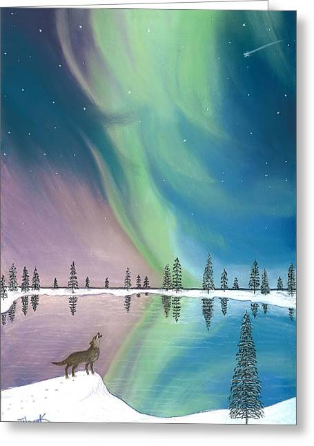 Wolf Pastels Greeting Cards - Northern Lights The Wolf and The Comet  Greeting Card by Jackie Novak