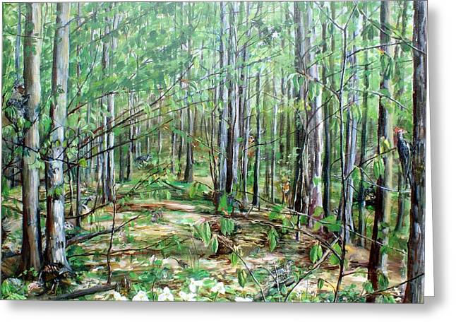 Fox Squirrel Paintings Greeting Cards - Northern Michigan Woods Greeting Card by Eleonora Hayes