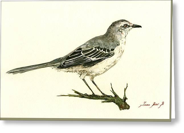 Small Bird Greeting Cards - Northern Mockingbird Greeting Card by Juan  Bosco
