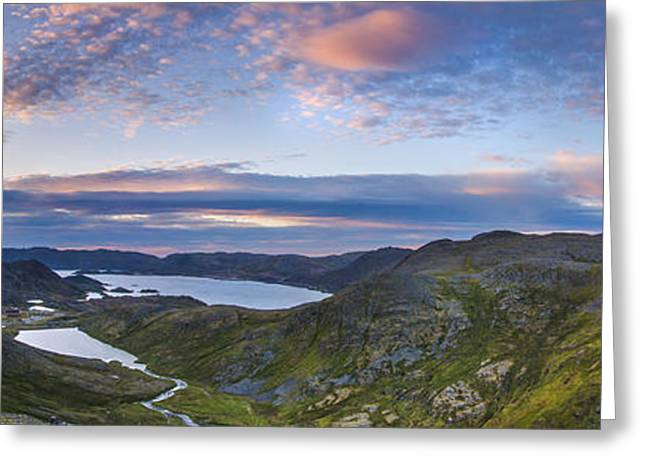 Norwegian Sunset Greeting Cards - Northern Norway panorama North Cape Greeting Card by Sandra Rugina