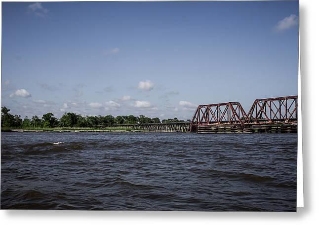 Railroad Tug Greeting Cards - Northern Railroad Swing Bridge Greeting Card by Debra Forand