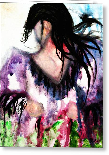 Fancy-dancer Paintings Greeting Cards - Northern Shawl  Greeting Card by Angela Pari  Dominic Chumroo