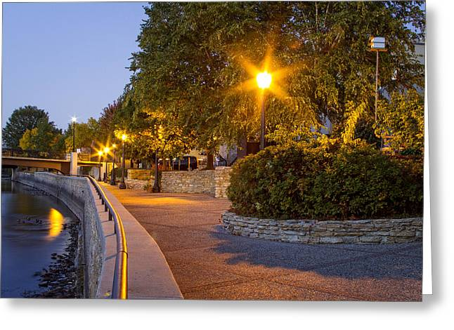 City Lights Greeting Cards - Northfield river walk at dusk Greeting Card by Joe Miller