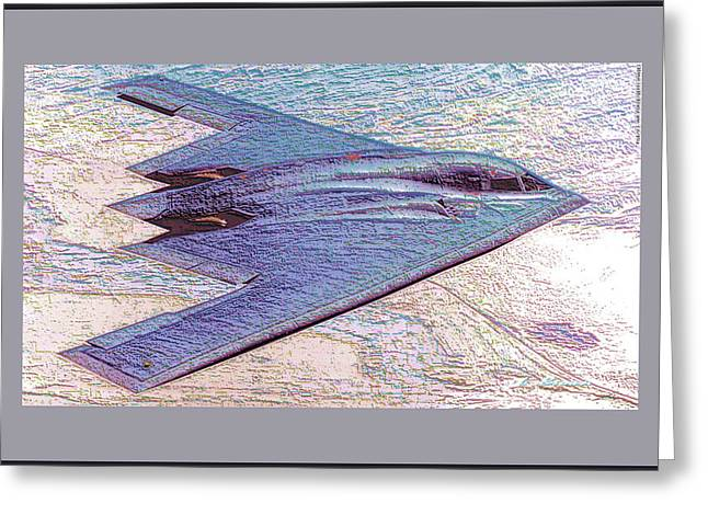 Northrop Grumman B-2 Spirit Stealth Bomber Enhanced With Double Border II Greeting Card by L Brown