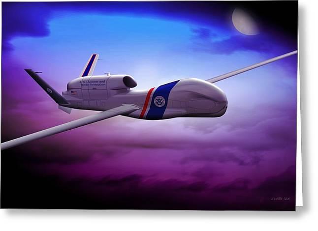 Global Hawk Greeting Cards - Northrop Grumman RQ4 Drone 2 Greeting Card by John Wills