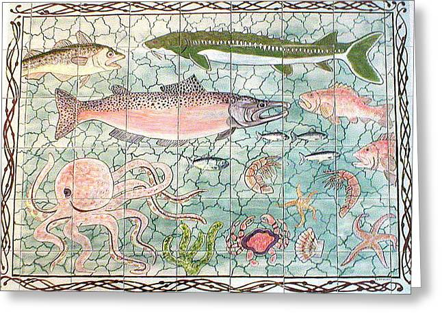Ceramic Ceramics Greeting Cards - Northwest Fish Mural Greeting Card by Dy Witt